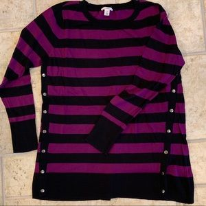 Caslon Striped Sweater with button detailing
